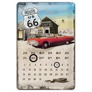 Plaque en m tal 20 x 30 cm route 66 calendrier perp tuel for Decoration murale route 66