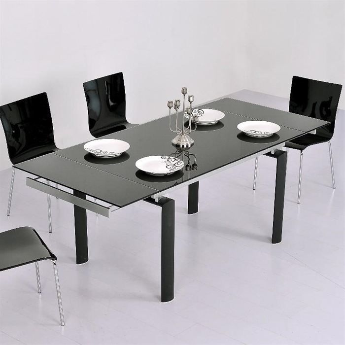 Table verre 140 cm for Table salle a manger en verre extensible