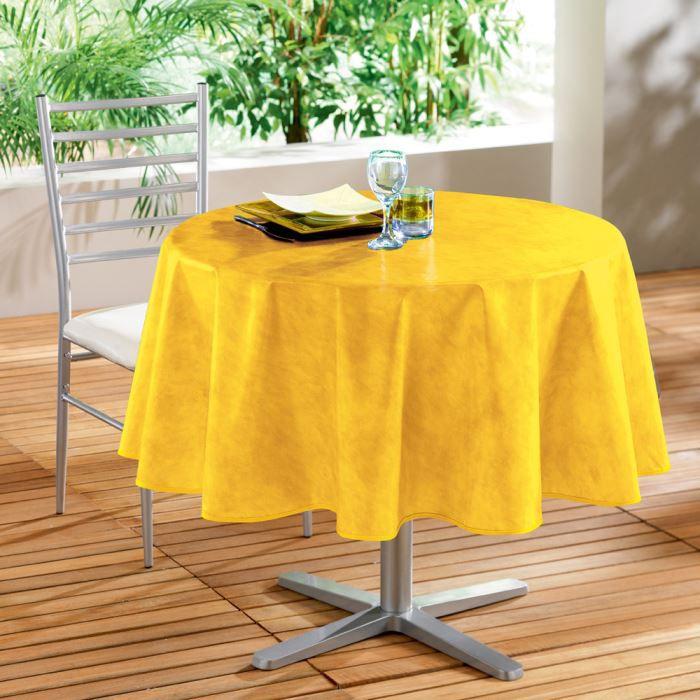 Nappe pvc ronde 160cm beton cire jaune achat vente - Nappe de table ronde ...