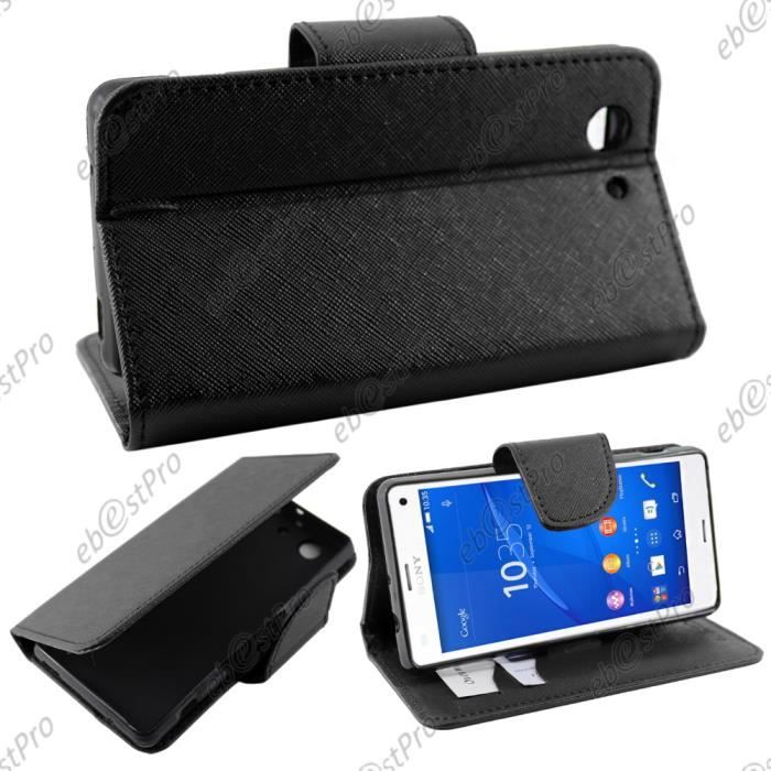 Ebeststar housse portefeuille noir sony xperia z3 compact for Housse xperia x compact