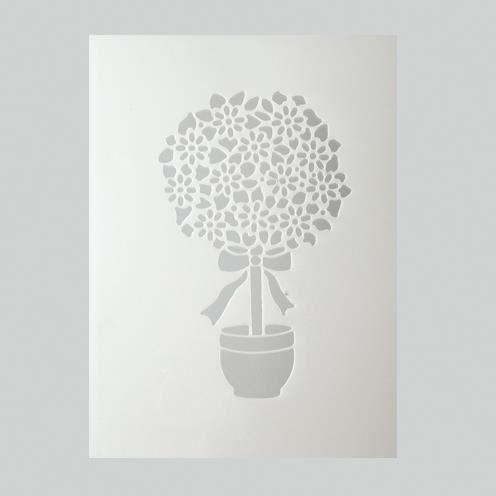 Pochoir arbre en fleur plastique blanc format achat for Pochoir arbre