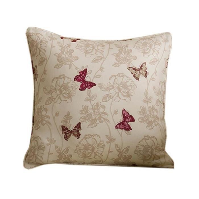 Coussin d houssable beige papillons rouge 45 x 45 cm - Housse de coussin 45 x 45 ...