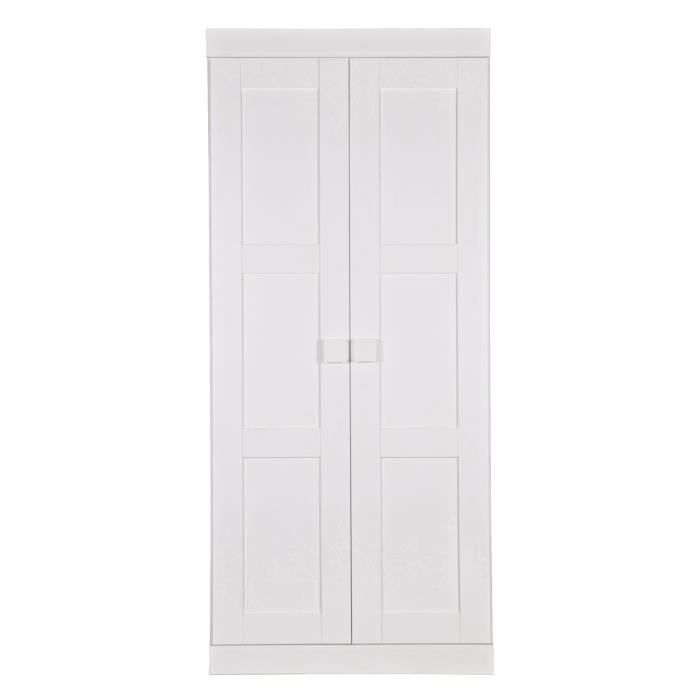 Armoire penderie en pin massif blanc avec 4 tag res h for Armoire blanche en pin