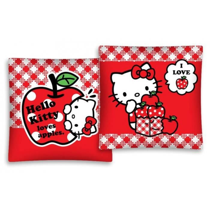 taie d 39 oreiller hello kitty housse coussin 40 x 40 cm lit filles sanrio rouge achat vente. Black Bedroom Furniture Sets. Home Design Ideas