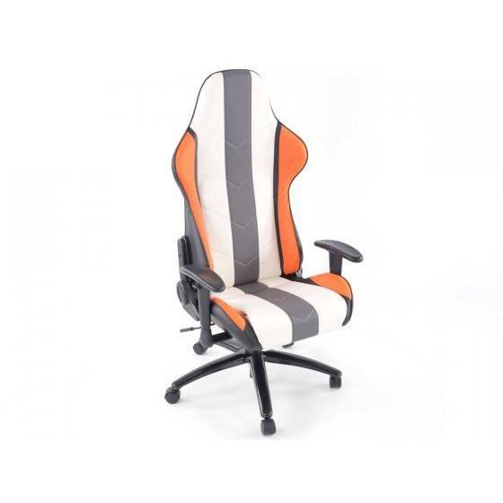 chaise de bureau sport avec accoudoir pu orange blanc gris achat vente chaise de bureau
