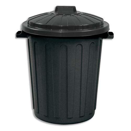 poubelle de rue 75 litres en polypropyl ne noir achat vente poubelle corbeille poubelle de. Black Bedroom Furniture Sets. Home Design Ideas