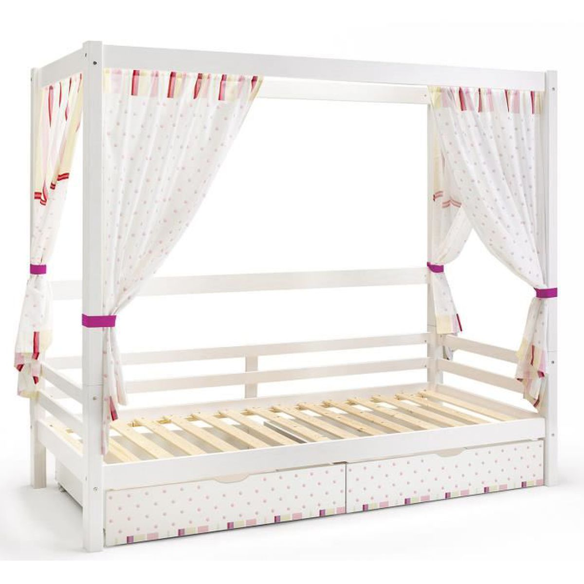 lit baldaquin en bois mdf et pin massif coloris blanc et rose avec 2 tiroirs h 183 x l 211 x. Black Bedroom Furniture Sets. Home Design Ideas