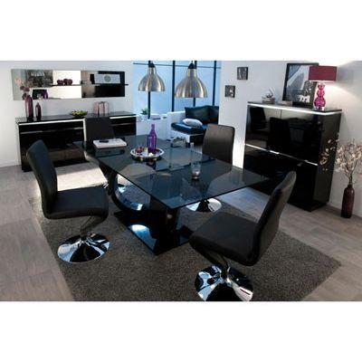 Link table 200x100cm plateau verre laqu noir achat - Table a manger verre noir ...