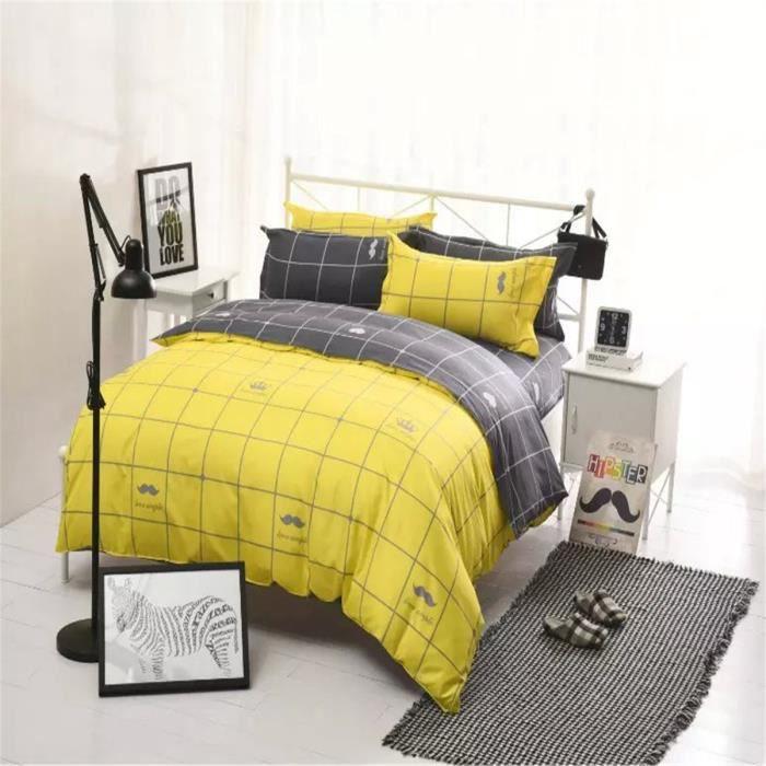 l m grille parure de couette lm 100 polyester 1 housse de couette 220x240cm 2 taies d. Black Bedroom Furniture Sets. Home Design Ideas