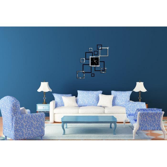D coration sticker horloge murale effet miroir conception moderne montres murales 3d d coration for Conception salon 3d