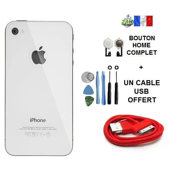 vitre arri re iphone 4 blanc cable usb chargeur rouge offert bouton home kit outil apple. Black Bedroom Furniture Sets. Home Design Ideas