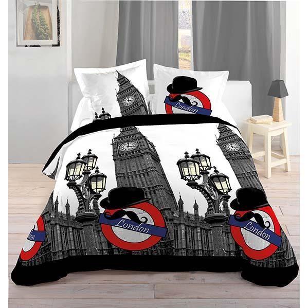 housse de couette 240x220 london gentleman blanc achat vente housse de couette cdiscount. Black Bedroom Furniture Sets. Home Design Ideas