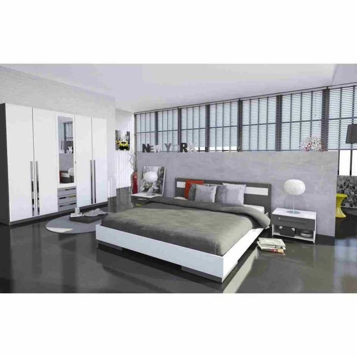 Chambre a coucher complete achat vente chambre for First chambre complete adulte 140cm laque blanc