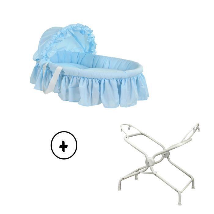couffin b b avec textile coloris bleu ciel et son support. Black Bedroom Furniture Sets. Home Design Ideas