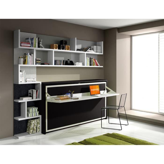 armoire lit escamotable fleet avec bureau 90x190cm achat vente lit escamotable cdiscount. Black Bedroom Furniture Sets. Home Design Ideas