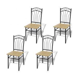 CHAISE Superbe Set de 4 chaises marron clair avec cadre e