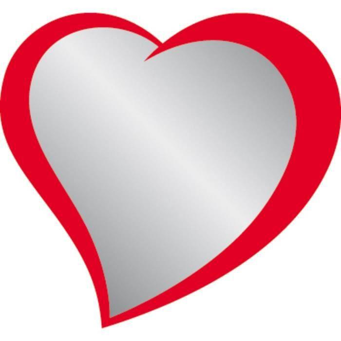 Artis miroir imprim coeur rouge 10x10 cm achat vente for Miroir rouge