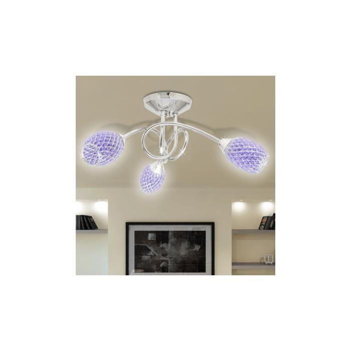 lustre lampe de plafond violet 3 abats jours en cristal g9 achat vente lustre lampe de. Black Bedroom Furniture Sets. Home Design Ideas