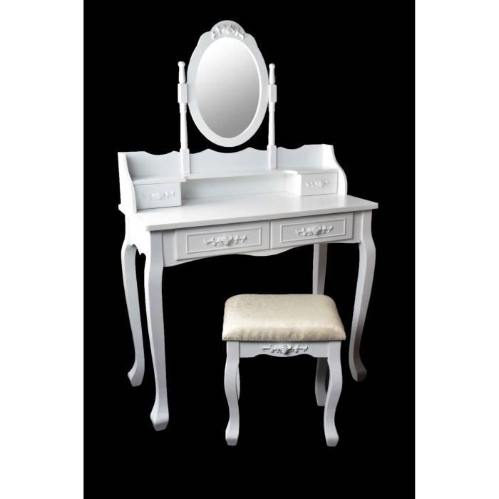 Coiffeuse avec tabouret shabby modele marry achat for Meuble coiffeuse avec tabouret