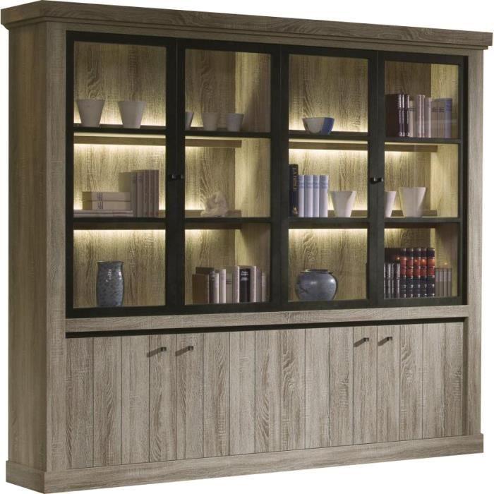 grande biblioth que de rangement clair e 246 cm style romantique coloris truffe truffe achat. Black Bedroom Furniture Sets. Home Design Ideas