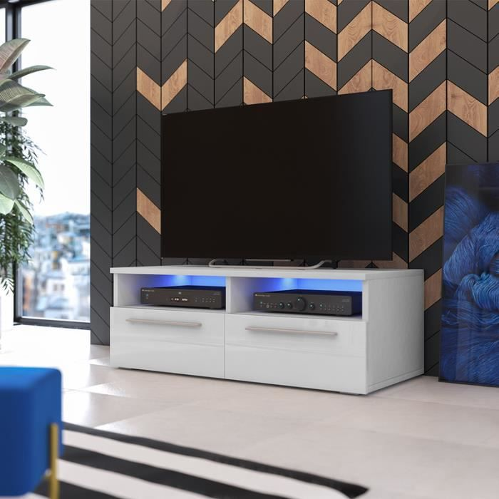 meuble tv siena blanc mat blanc brillant avec led. Black Bedroom Furniture Sets. Home Design Ideas