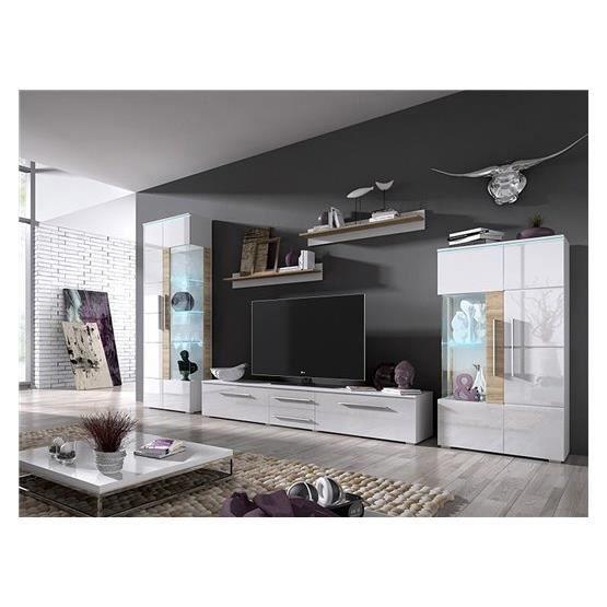 Meuble tv design krish blanc composition bois laqu for Composition meuble tv design