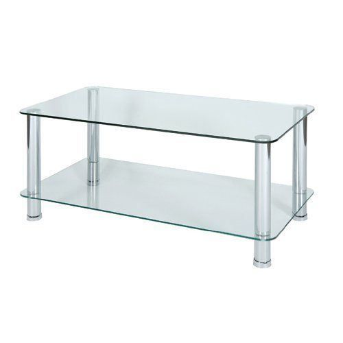 Levv table basse en verre et pieds chrom s tran achat for Table basse 3 pieds