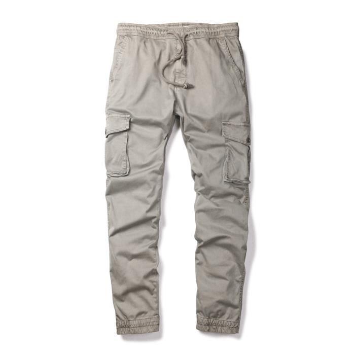 pantalon cargo pour les hommes toile confortable en coton taille lastique kaki achat vente. Black Bedroom Furniture Sets. Home Design Ideas