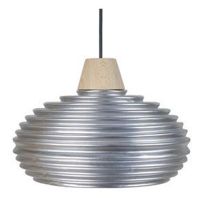 LÁSSIRA Lustre - suspension céramique, diam?tre 30 cm, anneaux+bois, cuivre et blanc