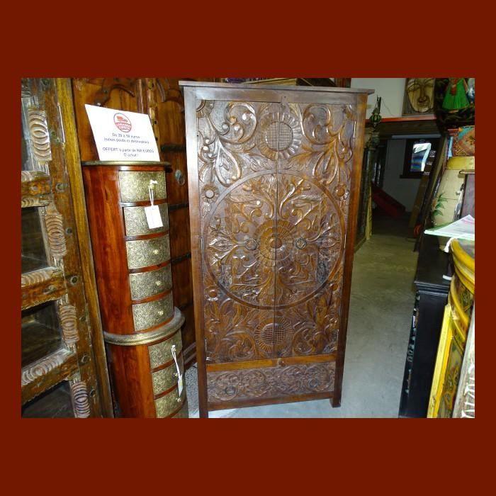 Grande armoire penderie patine teck et sculpt achat vente armoire de chambre grande - Grande armoire chambre ...