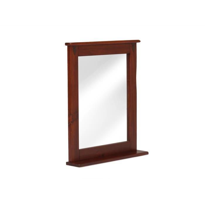miroir catana 67x78 avec tag re en pin brun massivum achat vente miroir bois cdiscount. Black Bedroom Furniture Sets. Home Design Ideas