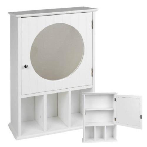 Armoire murale salle de bains en bois avec miroir porte for Armoire salle de bain bois