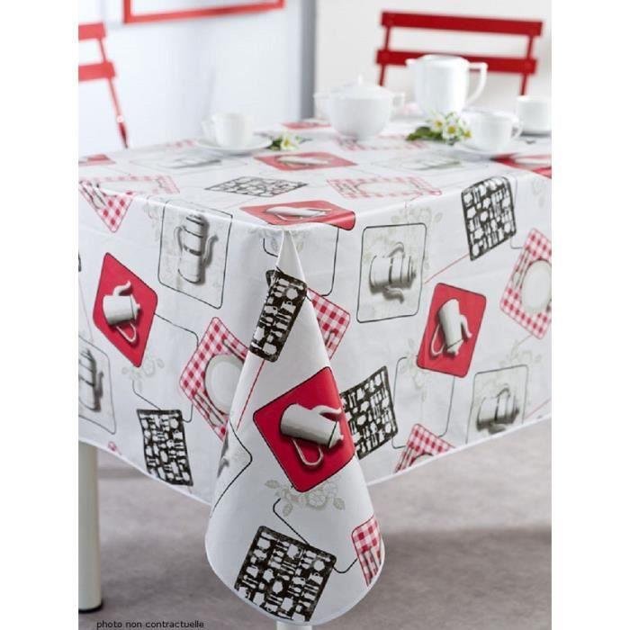 nappe en toile cir e rectangulaire 140x200 cm cafetiere cuisine achat vente nappe de table. Black Bedroom Furniture Sets. Home Design Ideas