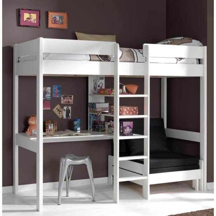 Paris prix lit mezzanine avec fauteuil pino blanc achat ven - Lit 2 personnes cdiscount ...
