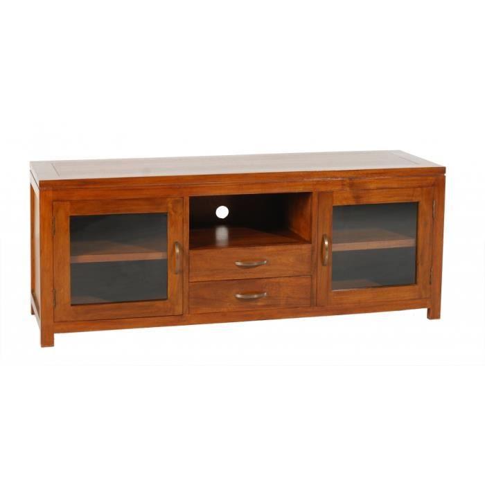 Meuble tv avec 2 portes vitr es en bois massif de mindi for Meuble tv ethnique