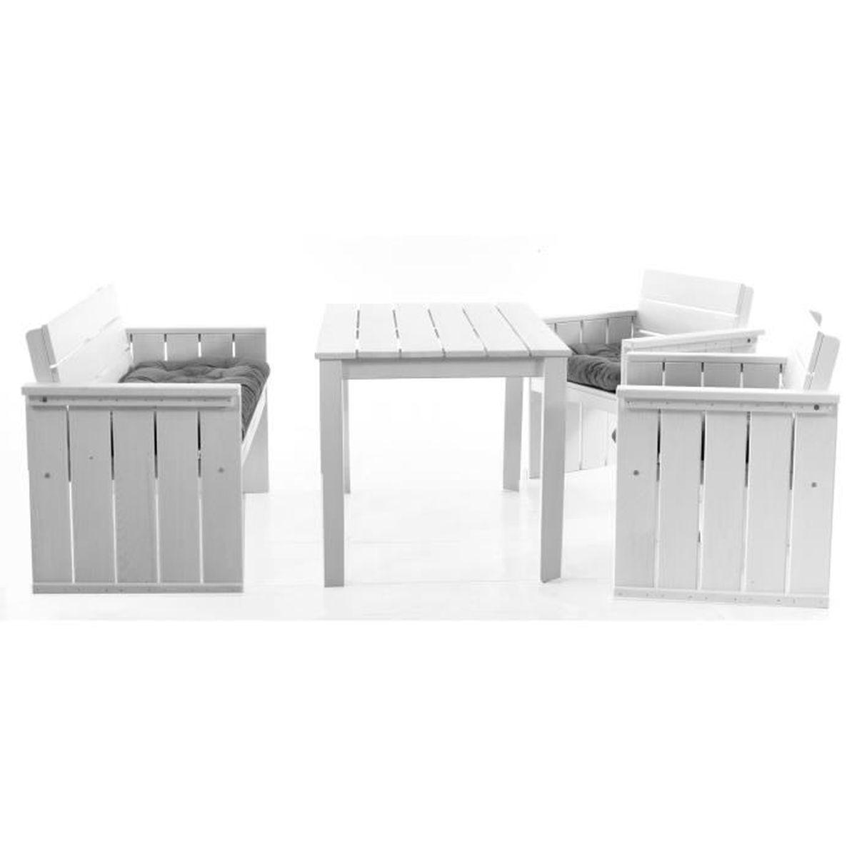 ensemble salon de jardin europa en pin massif deux fauteuils canap table manger et. Black Bedroom Furniture Sets. Home Design Ideas