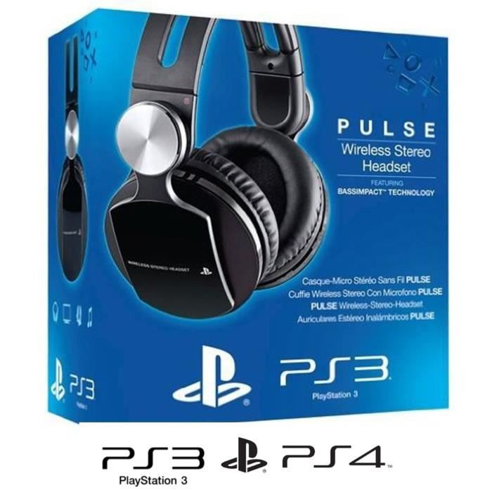 micro casque sans fil stereo pulse sony ps3 ps4 achat. Black Bedroom Furniture Sets. Home Design Ideas