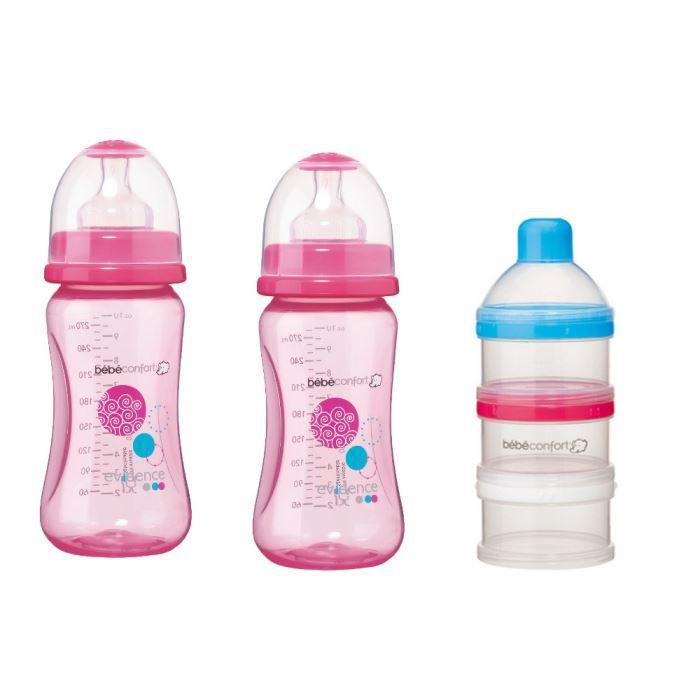 2 biberons maternity rose + doseur de lait 270ml