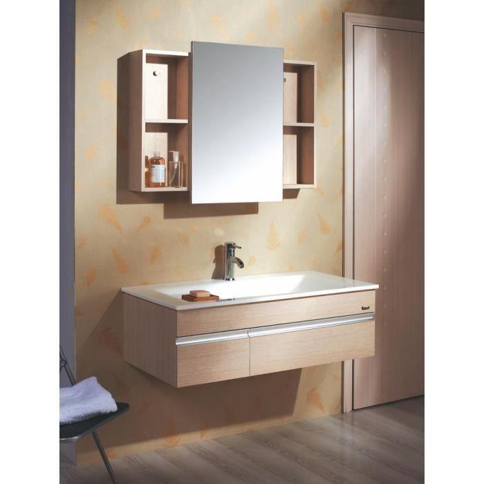 Lysita meuble salle de bain contemporain 100x50 achat for Meuble salle de bain contemporain