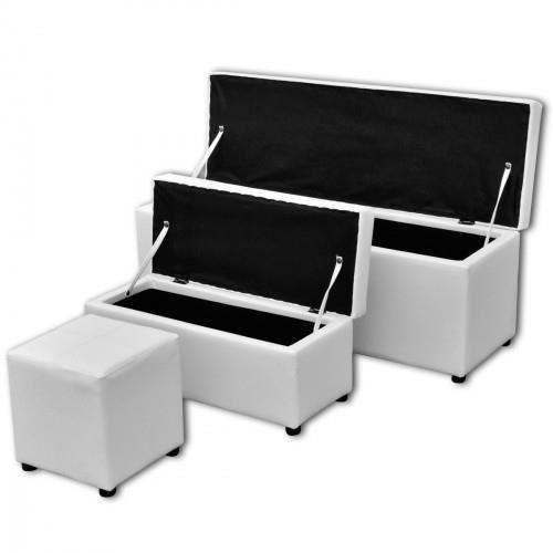 Set de banc de rangement en pu blanc achat vente banc blanc cdiscount - Banc de rangement blanc ...