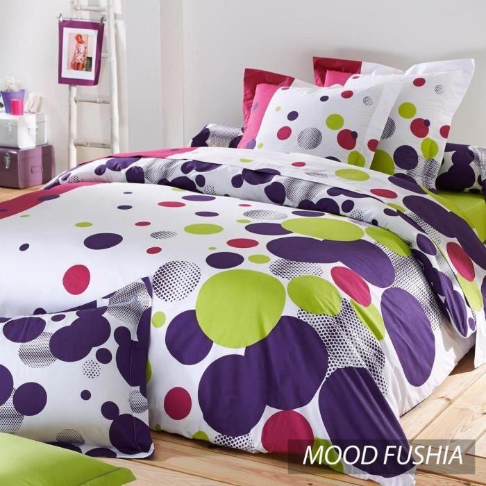 parure de lit 260x240 cm 100 coton mood fuchsia achat vente parure de drap cadeaux de. Black Bedroom Furniture Sets. Home Design Ideas