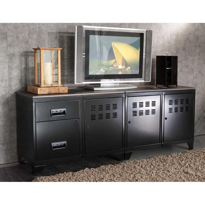 meuble tv modulable en metal achat vente meuble tv meuble tv modulable en metal cdiscount. Black Bedroom Furniture Sets. Home Design Ideas