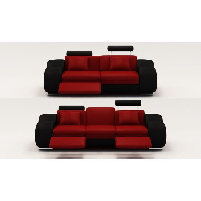 ensemble cuir relax oslo 3 2 places design rouge et noir achat vente canap sofa divan. Black Bedroom Furniture Sets. Home Design Ideas
