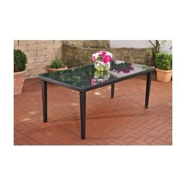 table de jardin en poly rotin gerino noir achat vente table de jardin table de jardin en. Black Bedroom Furniture Sets. Home Design Ideas
