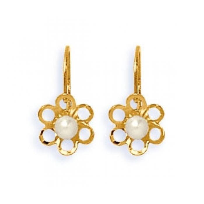 boucles d 39 oreilles or dormeuse fleurs et perle achat vente boucle d 39 oreille boucles d. Black Bedroom Furniture Sets. Home Design Ideas