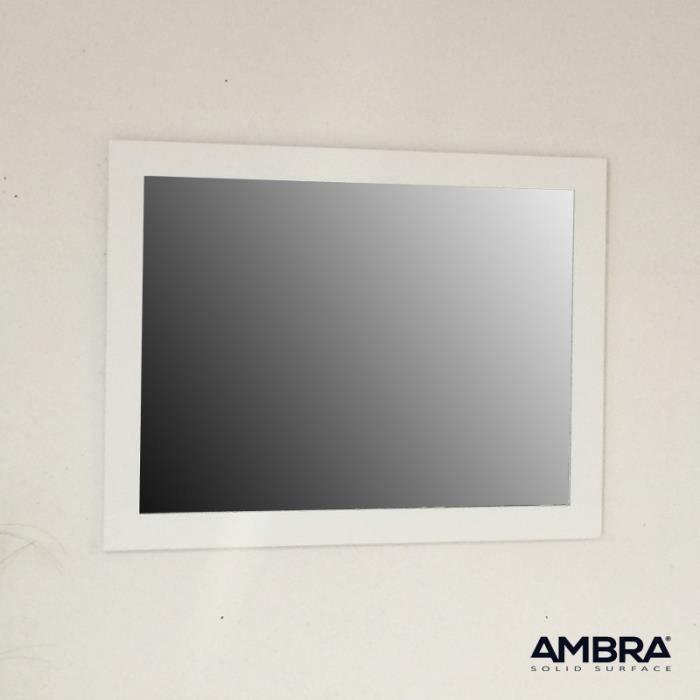 Miroir de salle de bains 90x70 cm en solid surface blanc for Miroir salle de bain 90 x 60