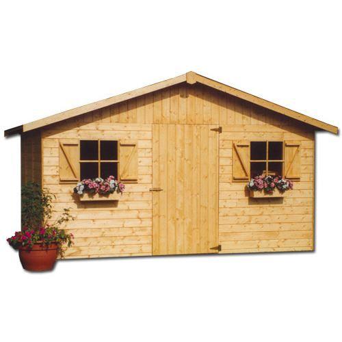 Abri de jardin en bois 15 mm 13 45 m achat vente abri jardin chalet abris en bois for Abri de jardin en bois destockage