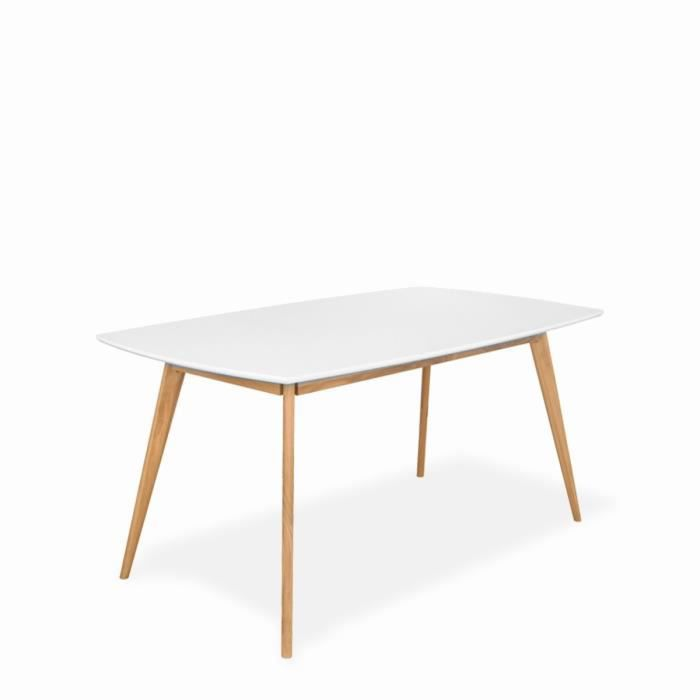 Table manger design scandinave bois et laque achat for Table a manger blanche