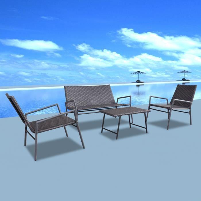 Vidaxl set de chaises et tables en rotin 4 pcs brun for Table et chaise en rotin