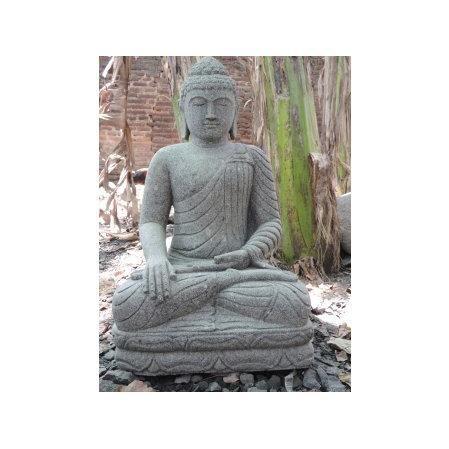 Statue jardin zen bouddha assis en pierre natur achat Statue jardin zen